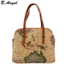New fashion high quality world map women bag women messenger bags shoulder bags tote bag(China)