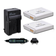 2 X NB-6L Battery Packs+car charger + charger for canon IXUS 85 IS, PowerShot S90, Digital IXUS 95 IS Free Shipping