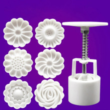 50g 6+1 Chinese Flowers Pattern Mooncake Mold Set Fondant Candy Pineapple Cake Mold For DIY Home Baking Accessories 2016 New
