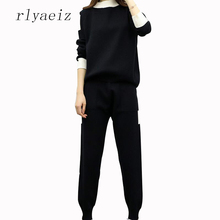 RLYAEIZ 2017 Autumn Brand New Knitting 2 Piece Set Women Sporting Suit Pullover + Pants Patchwork Sporting Wear Female Tracksuit