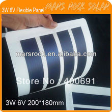 3W 6V 200*180mm Flexible Amorphous Silicon Solar Photovoltaic Module with Good Flexible, Waterproof, Lightweight Proformance