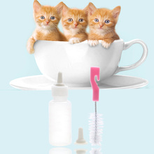 50ml Plastic Pet Cat Puppy Dog Baby Animal Feeding Bottle with Spare Nipple and Brush 3 Piece a Set For Dog Cat Feeders