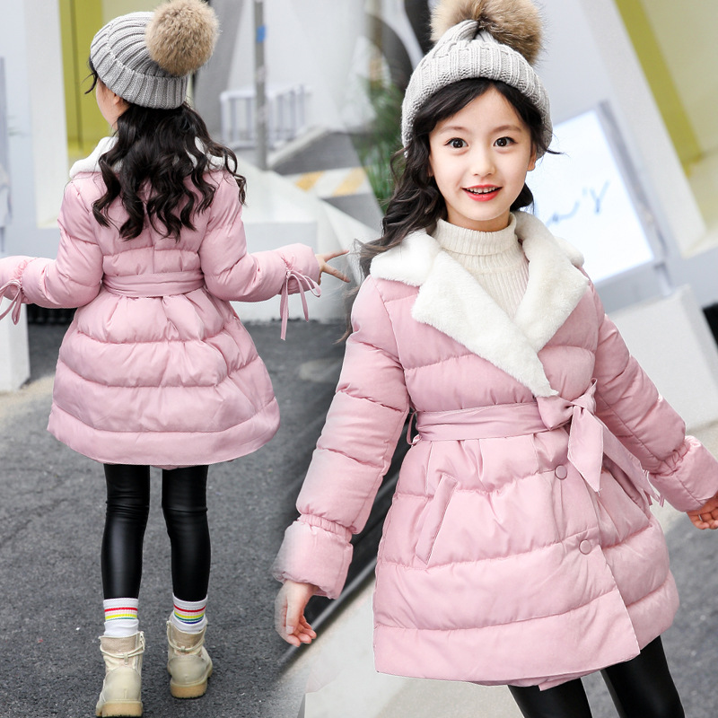 baby teenage girls winter coats dress kids fleece collar thick padded long cotton jacket girl pink purple black children topsÎäåæäà è àêñåññóàðû<br><br>