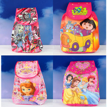 12Pcs Princess Sofia Dora Cartoon Kids Drawstring Printed Backpack Shopping School Traveling Party Bags Birthday Gifts 33*36CM