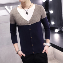 Two men fake sweater cardigan and thin temperament self-cultivation from a batch dyeing knitted sweater cardigan