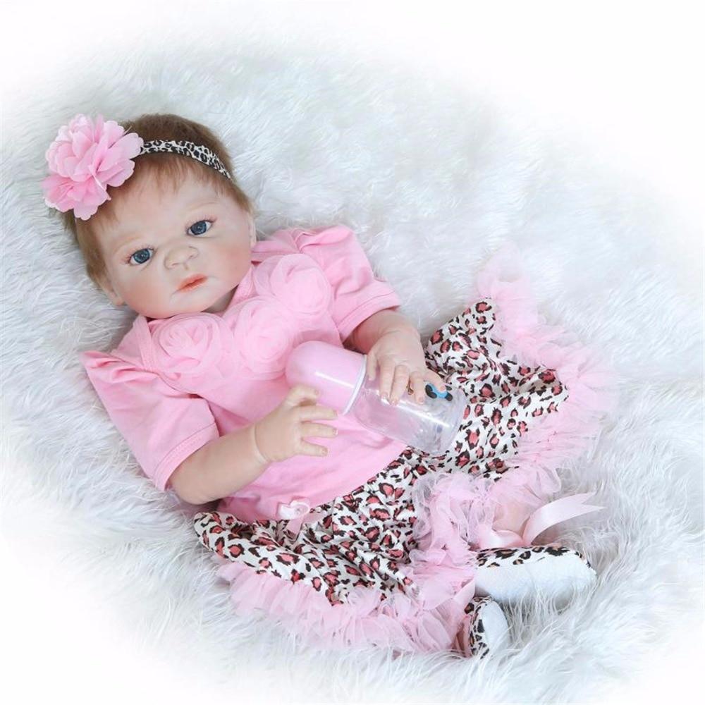 22 inch 57 cm Silicone reborn dolls, lifelike doll reborn Fashion pink dress beautiful doll holiday gift <br><br>Aliexpress