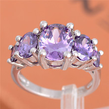 Free Shipping 1pc 925 Sterling Silver Purple Oval Cubic Zirconia Lovely party finger rings US Size TF412/F414/F415/F431