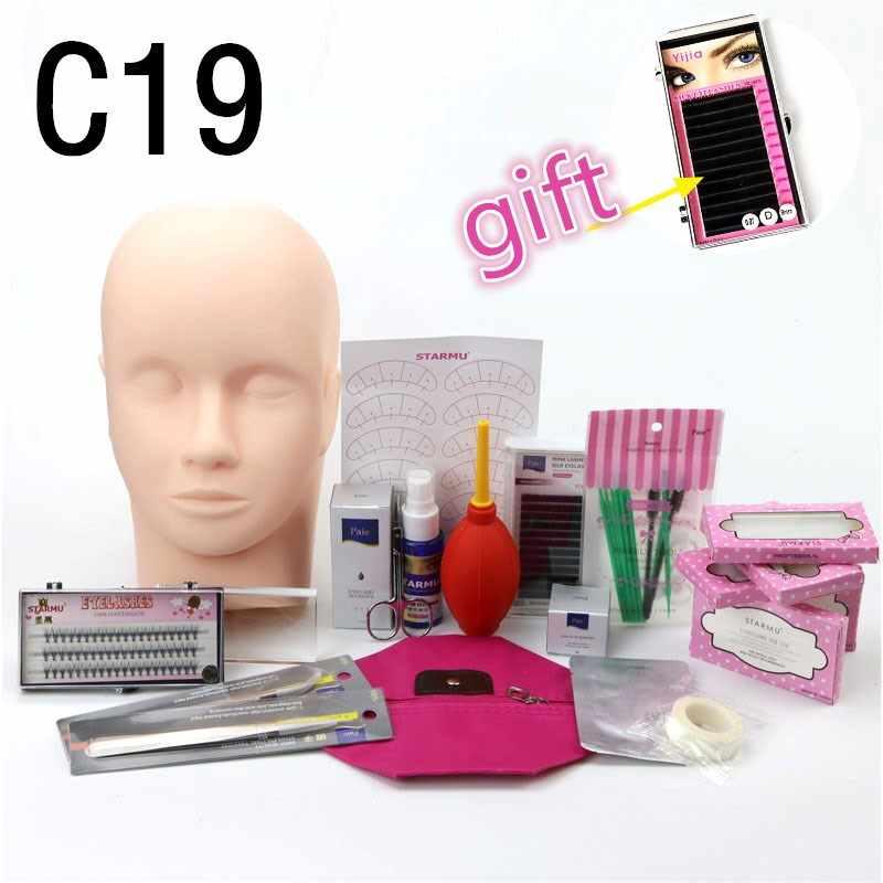78e60203a44 Pro Training Eyelashes kit False Eyelash Extension Grafting Practice Curl  Glue Tweezer Tools Set Bag For