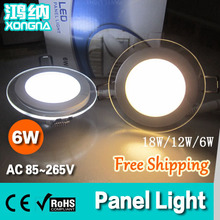 Free Shipping High Quality 6W LED Panel Light with Glass, Living Room/Kitchen/Bathroom/Dinning Room Recessed Ceiling Lamp(China)