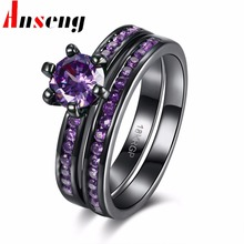 Anseng Brand Charm Bridal Sets Men Rings Jewelry Titanium steel Macrame Engagement Women Crystal Rings for Wedding