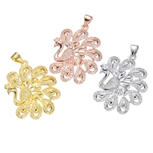 Supplies For Jewelry Wholesale Micro Pave Zircon Rhinestone Gold Silver Peacock Pendants For Necklace Chain Jewellery Accessory(China)