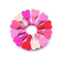 2015 New 12Pc/BAG  Mini Heart Love Wooden Clothes Photo Paper Peg Pin Clothespin Craft Clips 1O5H 5G4T