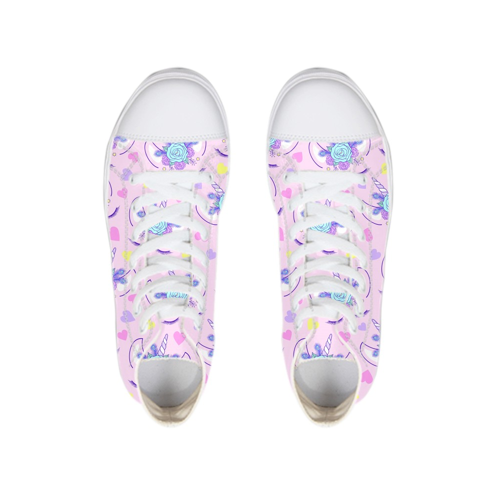 Hot Magic Horse Unicorn Print Women Sneakers Vulcanized Modis Cartoon Pink Rose Teenage Girls High-top Flat Lace-up Canvas Shoes