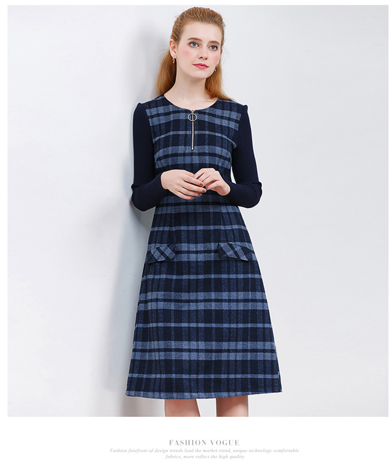 ONLY PLUS Ladies Woolen Dress for Women Knit Long Sleeve Mosaic High Quality Elegant A-line Stripe Dress Winter 2017