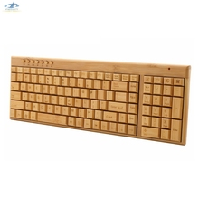 [HFSECURITY] For Ergonomics 2.4Ghz Wireless Keyboard Customized Creative Gift USB Standard Bamboo Keyboard(China)