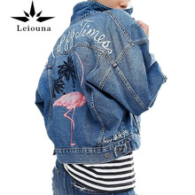 Leiouna Fall Genuine Flamingo Basic Embroidered Denim Cotton Jeans Bomber Female Jacket Harajuku Loose Coat Women Embellished