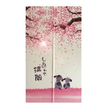 Japanese Doorway Curtain 85x150cm Happy Dogs Cherry Blossom