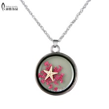 Original Handmade Natural Dried Flowers Starfish Necklaces & Pendants For Women Marine Style Lady Jewelry glowing in the dark(China)