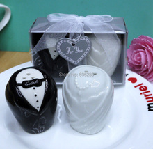 free shipping 60sets/lot good quality ceramic bride and groom salt peper shaker sets in gift box wedding shaker favors and gifts