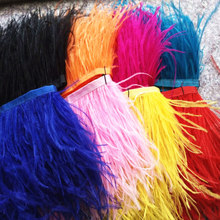 Wholesale 10 yards high quality Natural Ostrich Feather fringe Ostrich feather ribbon 4-5inch/10-12cm free shipping accessories(China)