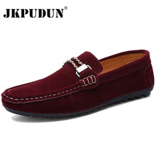 JKPUDUN British Style Leather Men Shoes Luxury Brand Penny Loafers Italian Fashion Designer Shoes Men High Quality Casual Flats(China)