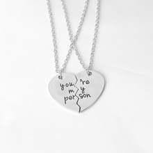 2017 Fashion Style Grey's Anatomy couple love You're My Person Heart Vintage Gold Pendant Necklace for Women Girls Gift