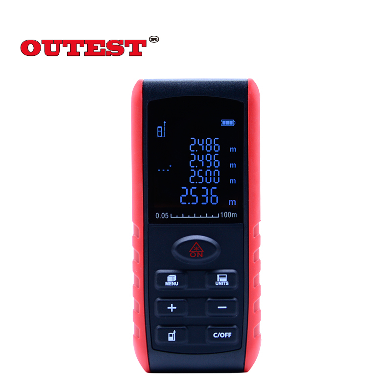OUTEST laser distance meter 100m/328ft Range Finder Measure Area Volume Measurement with Angle Indication+Level bubble<br>