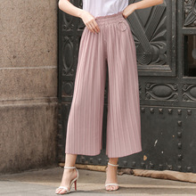 Womens New Fashion Wide Leg Pants With Ring Ladies Casual Pleated Cotton Linen Slim Calf-Length Pants Trousers 2017 Summer PA23