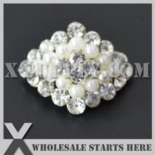 DHL Free Shipping Diamond Pearl Rhinestone Embellishments Button with Shank for Wedding Invitation,Brooch Bouquet,Flower Center