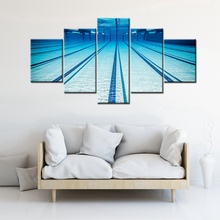 Hot 5PCS High Quality Prints Swimming Pool Picture Canvas for Home Decorations Wall Art Modular Artwork Wholesale and Customized(China)