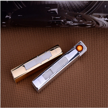 Mini Strip Shape USB Electronic Cigarette Torch Lighter Flameless Windproof Jet Lighter Portable Plasma Arc Lighter Gift for Men(China)