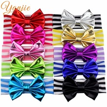 2017 New Arrival 5'' Messy Metallic Bow Elastic Jersey Striped Cotton headband For Kids Girl Head wraps Bandeau Hair Accessories(China)