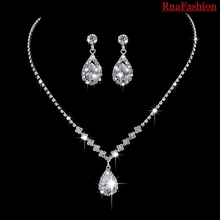 RNAFASHION Crystal Bridal Jewelry Sets Silver Color Pendant Necklace Earrings Sets Wedding African Beads Jewelry Sets(China)