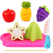 6pcs Food Fruit Vegetable Cutting Pretend Play toy Children Kitchen Toys Sets Fruit Vegetable Food Toy Girls Kitchen Pretend Set(China)