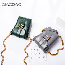 QIAOBAO 100% Genuine Leather Handbag Small Square Bag Retro Old Small Box Bag shoulder Messenger Bag Flap Bag(China)