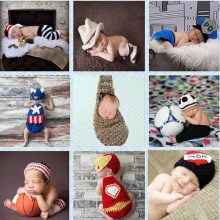 Crochet Pattern Newborn Photography Props Infant Toddler Knitted Costume Handmade Baby Hat 0-12 Months 1set SG049