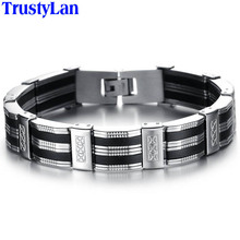 TrustyLan Accessory Men Bracelet Brazalet High Quality Stainless Steel & Black Silicone Mens Bracelets Jewelry Wristbands Band(China)