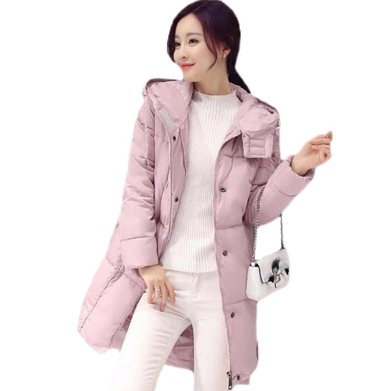 Pink Jackets Parkas 2017 New Winter Jacket Women Coat Clothing Medium-Long Cotton Padded Slim Warm Jacket Coat High Quality CoatОдежда и ак�е��уары<br><br><br>Aliexpress