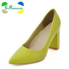 S.Romance Plus Size 34-43 Women Pumps Fashion Sexy Elegant Pointed Toe Sqaure High Heel Woman Shoes Black Red White Yellow SH493(China)