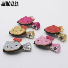 2pcs/lot Girls Hair Accessories Glitter Hello Kitty Bows Hair Clips Fashion Hairpins Girls Barrettes Grips