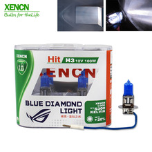 XENCN H3 12V 100W Pk22s 5300K Xenon Ultimate White Blue Diamond Light Car Bulbs Germany Halogen Auto Fog Lamp for vw golf fabia
