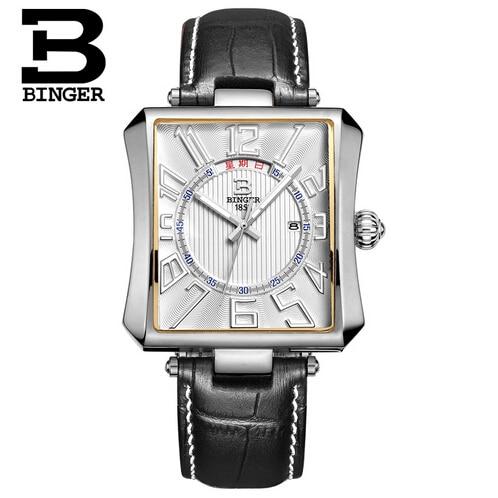 Binger Business Fashion Quartz Watches Man Fashion Wristwatch genuine Leather strap Date Luxury Silver Relogio reloj hombre Male<br>