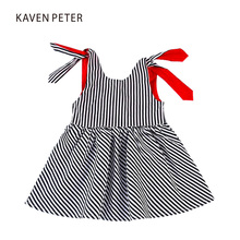 Summer beach dress kid backless dress girl black and white striped One Piece 2017 little girls one piece dress overalls children