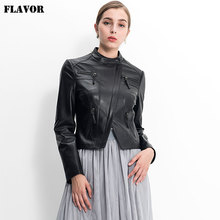 new autumn women jacket lambskin motorcycle caot genuine leather jacker(China)