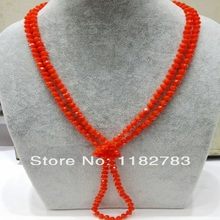 Freeshipping hot sale vintage fashion crystal bright orange necklace cool summer women jewelry pure handworking made simple gift