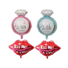"2 Pairs of ""I do"" ""Kiss me"" Aluminum Foil Helium Balloons Valentines Day Wedding Engagement Decoration"