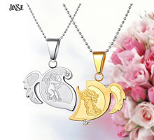 JINSE MTB008 Titanium Steel heart angle wings puzzle couples necklace The God of love Cupid gold/sliver heart pendant necklace