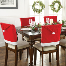 2pcs/set Christmas Hat Style Chair Back Covers Christmas Dinner Slipcovers Set Decorations Ornaments Xmas Decoration 2017(China)