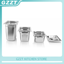 GZZT 6pcs/carton Stainless Steel 1/9 Food Pan Containers Gastronorm Pan 65/100/150mm Height(China)