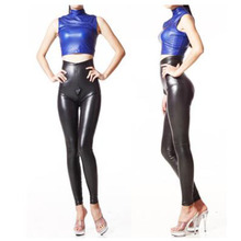 Buy High Quality Latex Elastic Legging Women High Waist Shiny PU Leather Pant Ladies Zipper Open Crotch Bodycon Pencil Pants Capris